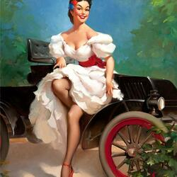 Пазл онлайн: Девушка и автомобиль