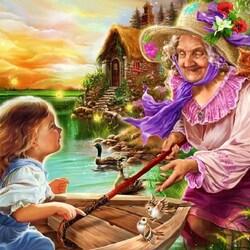 Пазл онлайн: Герда и волшебница