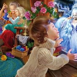 Пазл онлайн: Снежная королева за окном