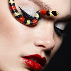 Пазл онлайн: Лицо со змеями