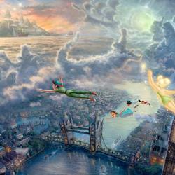 Пазл онлайн: Тинкер Белл и Питер Пен летят в Неверленд