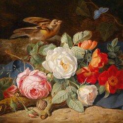 Пазл онлайн: Натюрморт с цветами, птицей и улиткой