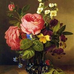 Пазл онлайн: Букет с розами, жасмином и анютиными глазками