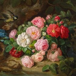 Пазл онлайн: Натюрморт с розами и птицей