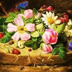 Пазл онлайн: Натюрморт с цветами и бабочкой