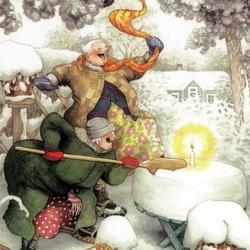 Пазл онлайн: Веселые бабульки и снежный торт