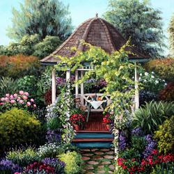 Пазл онлайн: Беседка в саду