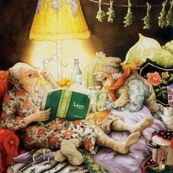 Пазл онлайн: Бабульки за интересной книгой