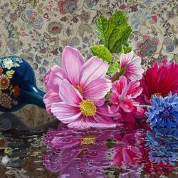 Пазл онлайн: Цветы в опрокинутой вазе