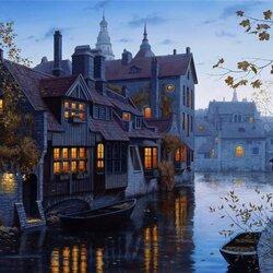 Пазл онлайн: Осенний вечер в Брюгге