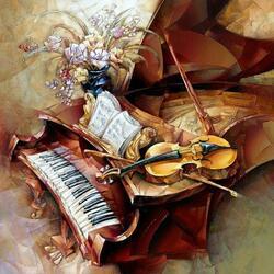 Пазл онлайн: Музыкальный натюрморт