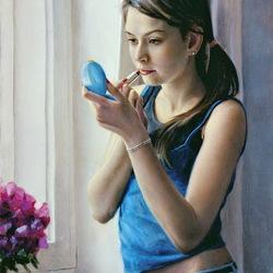 Пазл онлайн: Девушка у окна