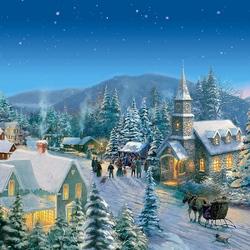 Пазл онлайн: В Рождественскую ночь