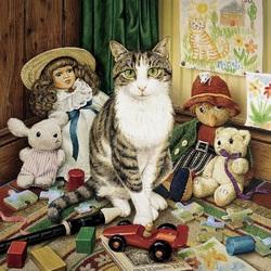 Пазл онлайн: Кот и игрушки