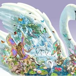 Пазл онлайн: Лебедь