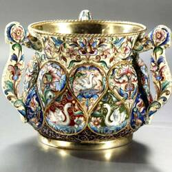 Пазл онлайн: Серебряная чаша с эмалью