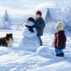 Пазл онлайн: Снеговик