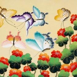 Пазл онлайн: Настурции и бабочки