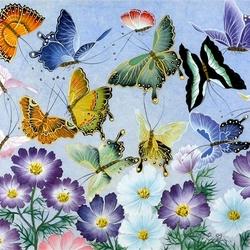 Пазл онлайн: Космея и бабочки