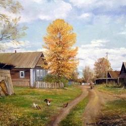 Пазл онлайн: Деревенский пейзаж