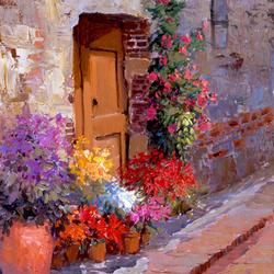 Пазл онлайн: Цветущий дверной проем