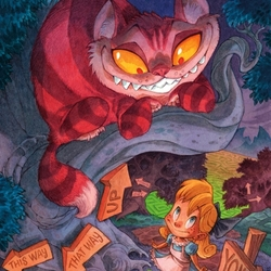 Пазл онлайн: Алиса и Чеширский кот