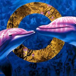 Пазл онлайн: Розовые дельфины