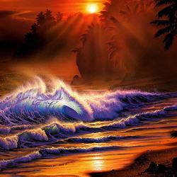 Пазл онлайн: Волны на закате