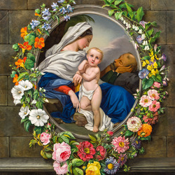 Пазл онлайн: Святое семейство в цветочной гирлянде
