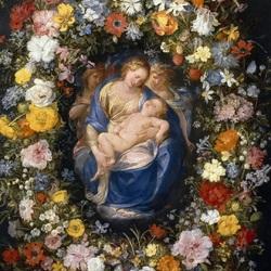 Пазл онлайн: Мадонна с младенцем и двумя ангелами в цветочной гирлянде