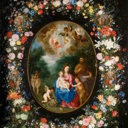 Пазл онлайн: Святое семейство с Иоанном Крестителем в цветочной гирлянде