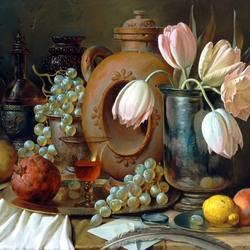 Пазл онлайн: Натюрморт с фруктами и тюльпанами