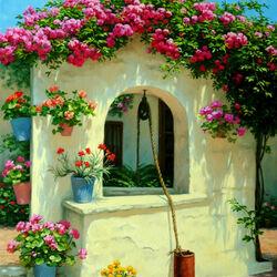 Пазл онлайн: Розовый куст у колодца