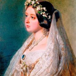 Пазл онлайн: Королева Виктория в свадебном платье с вуалью