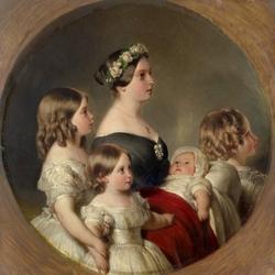 Пазл онлайн: Королева Виктория с детьми