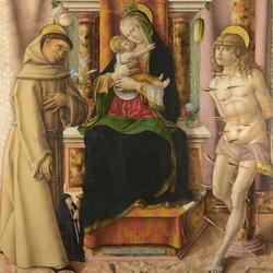 Пазл онлайн: Картина Мадонна с младенцем и святыми Франциском и Себастьяном