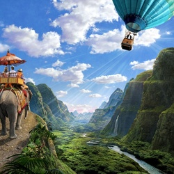 Пазл онлайн: Путешествие на слоне