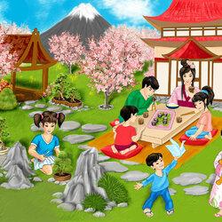 Пазл онлайн: Японская семья