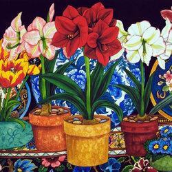 Пазл онлайн: Амариллисы, тюльпаны, крокусы
