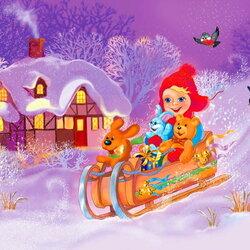 Пазл онлайн: Веселый зимний день