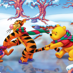 Пазл онлайн: Зимние забавы Винни-Пуха и его друзей