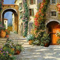 Пазл онлайн: Улица в цветах