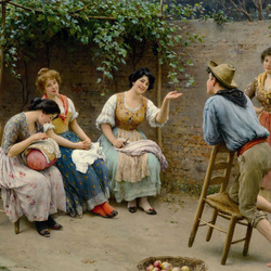 Пазл онлайн: Сцена в саду