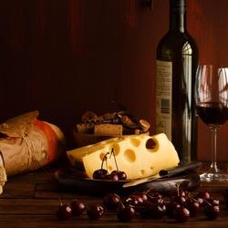 Пазл онлайн: Вино и сыр