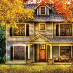 Пазл онлайн: Осенний коттедж