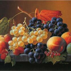 Пазл онлайн: Натюрморт с фруктами и ягодами