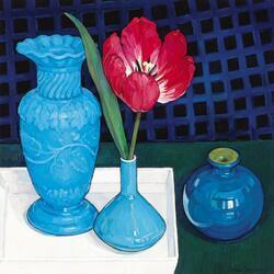 Пазл онлайн: Тюльпан и голубые вазы