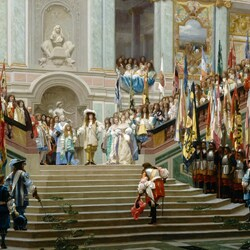 Пазл онлайн: Прием принца Конде Людовиком XIV в Версале в 1674 году