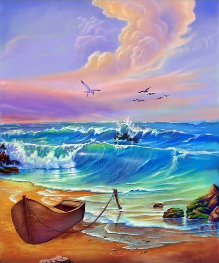 нем можно открытки художники о море кровати