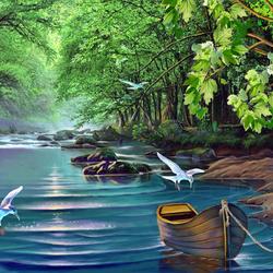 Пазл онлайн: Лесная река